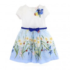 Girls light blue dress with flowers