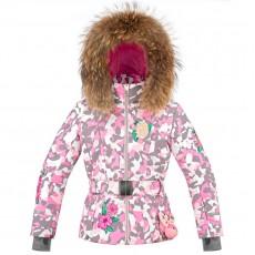 Girls ski jacket Pink Camou with natural fur