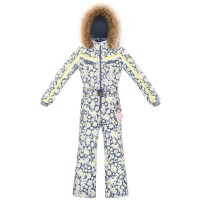 Girls overall daisy yellow with fake fur